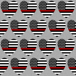 thin red line flag in hearts on grey