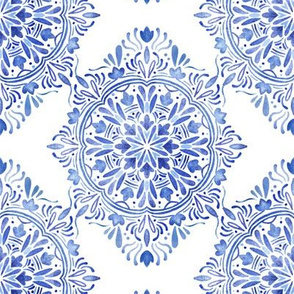 blue watercolor damask