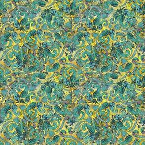 Green Paisley on Lemon