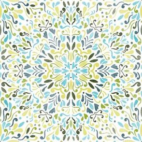 summer watercolor mandala