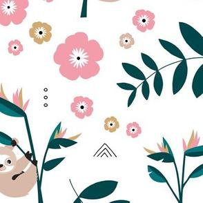 Little baby sloth rainforest jungle leaves summer green pink girls JUMBO