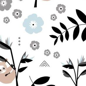 Little baby sloth rainforest jungle leaves summer blue pastel beige neutral nursery Jumbo