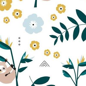 Little baby sloth rainforest jungle leaves summer ochre blue neutral nursery