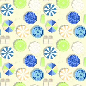 Summer Beach Umbrellas - yellow and blue
