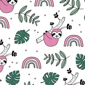 Rainbows and jungle leaves sloth rainforest pink green girls