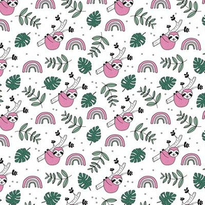 Rainbows and jungle leaves sloth rainforest pink green girls SMALL