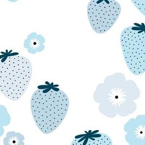 Summer strawberry garden white blue JUMBO