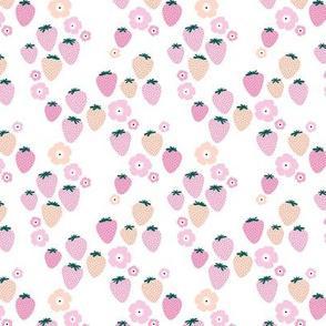 Summer strawberry garden white pink