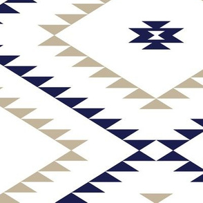 Southwestern Geometric - White / Navy / Beige - Large