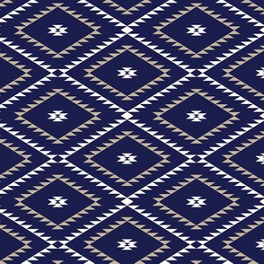 Southwestern Geometric - Navy / White / Beige - Small