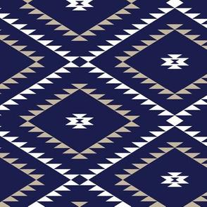 Navajo Pattern - Navy / White / Beige - Medium