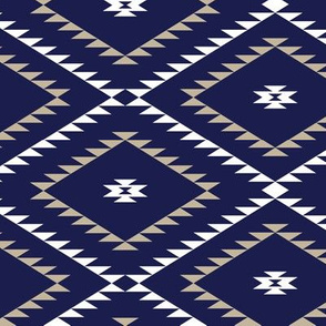 Southwestern Geometric - Navy / White / Beige - Medium