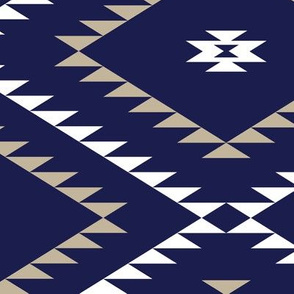 Navajo Pattern - Navy / White / Beige - Large