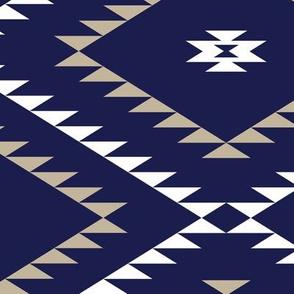 Southwestern Geometric - Navy / White / Beige - Large