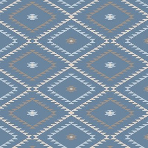 Southwestern Geometric - Blue / Brown / Beige - Small