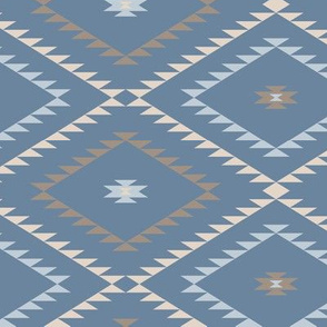 Southwestern Geometric - Blue / Brown / Beige - Medium