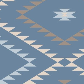 Southwestern Geometric - Blue / Brown / Beige - Large