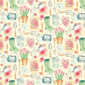 Vintage Floral Gardener - SMALLER