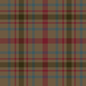 "MacDonagh tartan - 10"" muted with dark red"