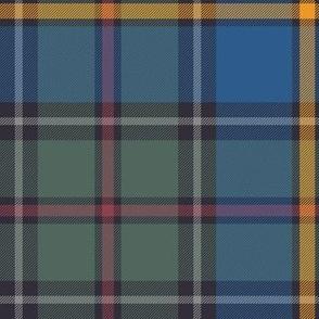 "Green MacLeod tartan, 10"" muted custom, single grey stripe"