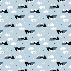 Cool scandinavian winter wonder woodland theme with clouds arrows and mountain peak snow theme multi directional
