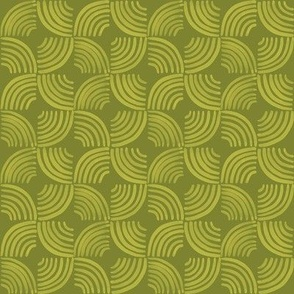 Quarter Circles Brush Strokes Geometric / Green