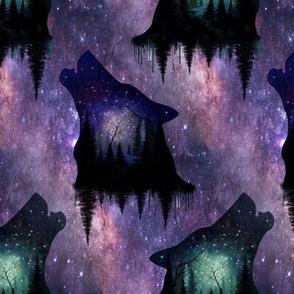 Galaxy night wolf