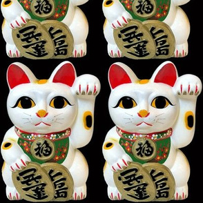 2 white calico cats lucky Maneki neko japanese chinese lucky charm talisman good luck beckoning cat fortune success feng shui red culture waving kawaii  paw adorable orange black patches spots red cherry blossoms sakura flowers floral bib green collar bla