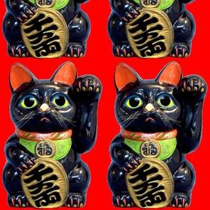 1 black cats lucky Maneki neko japanese chinese lucky charm talisman good luck beckoning cat fortune success feng shui red culture waving paw kawaii adorable collar