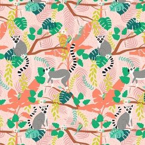 Lemurs in a Pink Jungle