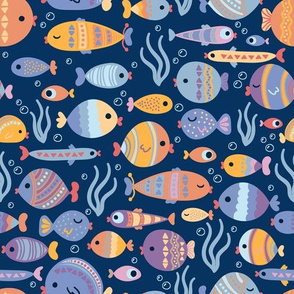 Colorful Fish on Blue, Cute and Small bubbles. Under Sea Life Flora
