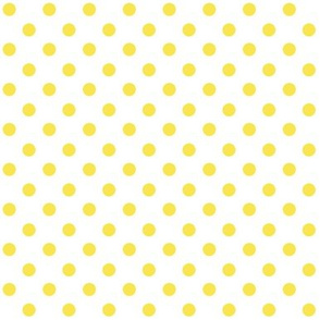 Yellow Polka Dot on white 1x1