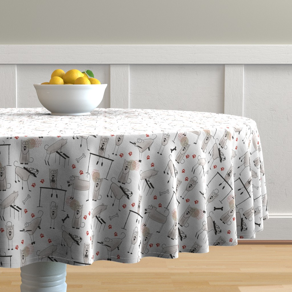 Malay Round Tablecloth featuring Play, eat, repeat by Kreativkollektiv by friedlosundstreitsuechtig