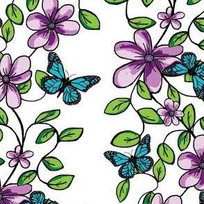 Flowers & Flutters / Vines & Butterflies   -on White