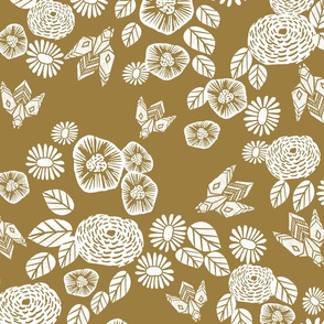 bee garden - spring flowers florals mustard yellow vintage style flowers 28