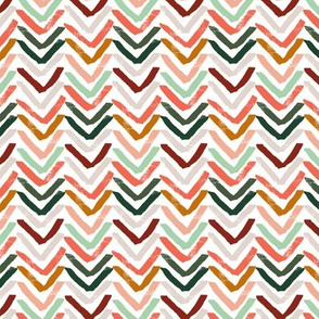 Coral, Mint, Pine and Ochre Chevron by Angel Gerardo - Large Scale