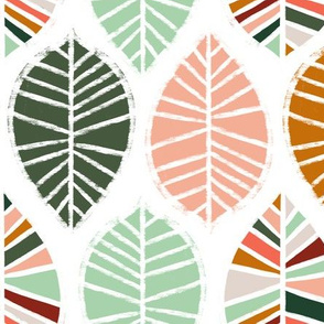 Coral, Mint, Pine and Ochre Leaves - Large Scale