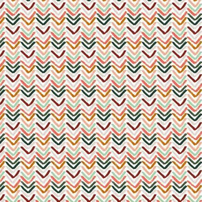 Coral, Mint, Pine and Ochre Chevron by Angel Gerardo - Small Scale