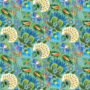 Vintage Soft Green Floral Garden Print