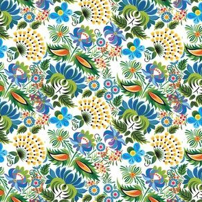 Vintage Garden Pattern Intricate Floral on White