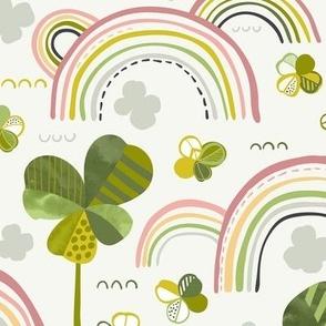 Good Luck Four Leaf Clover and Rainbow