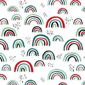 Rainbow love Scandinavian abstract rainbow clouds happy rain sky christmas red green mint