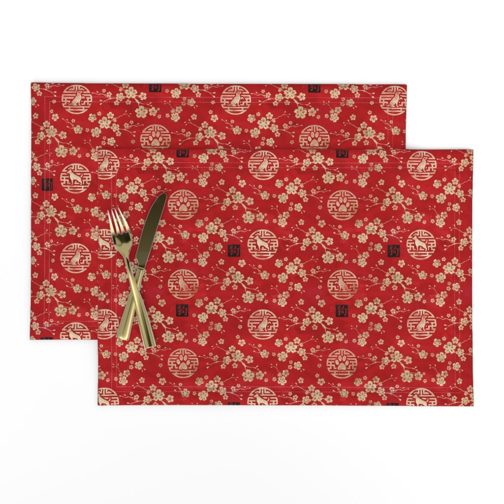 Lamona Cloth Placemats featuring Chinese year of the dog in red small by adenaj