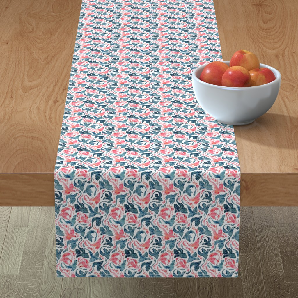 Minorca Table Runner featuring Dragon and red phoenix fire super small by adenaj