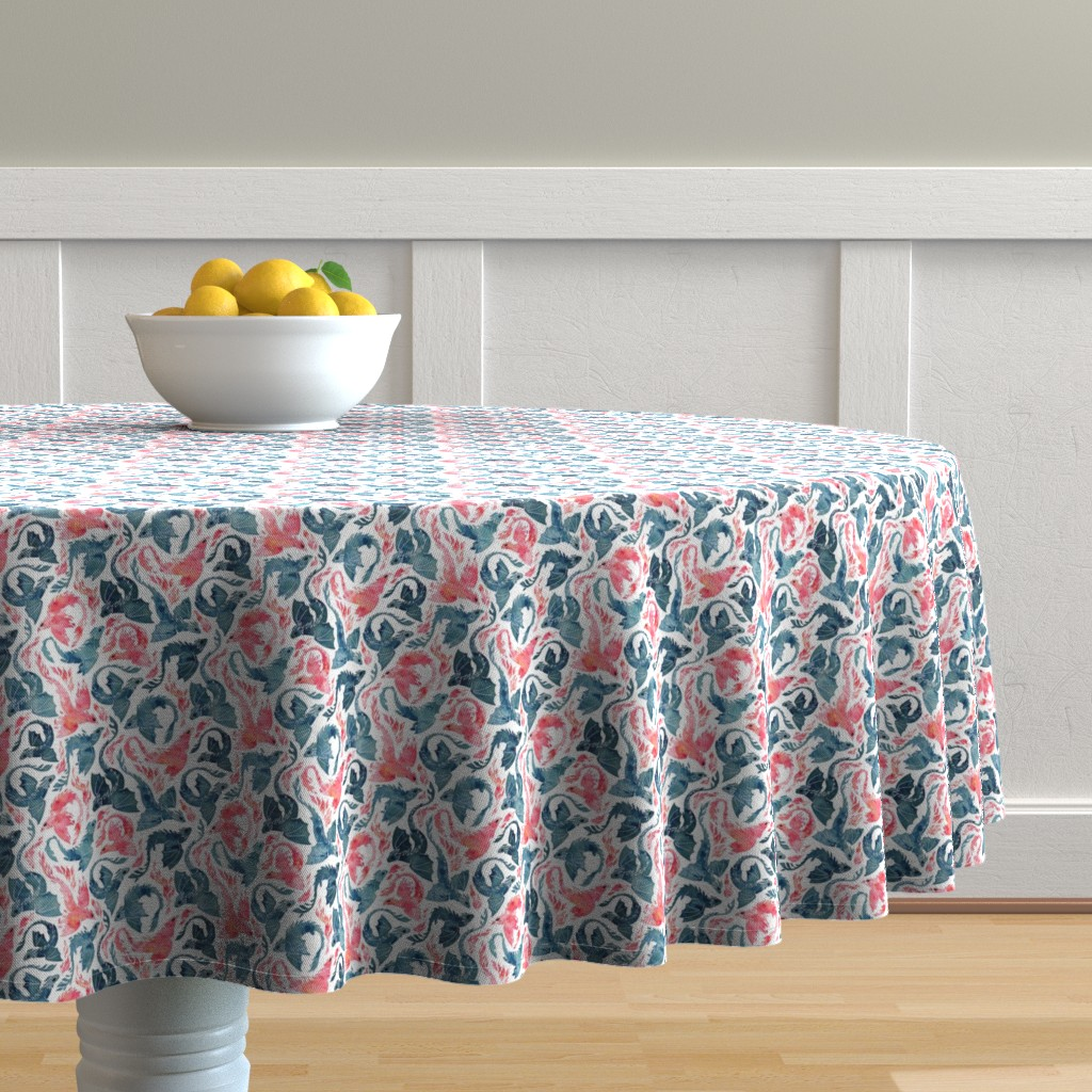 Malay Round Tablecloth featuring Dragon and red phoenix fire super small by adenaj