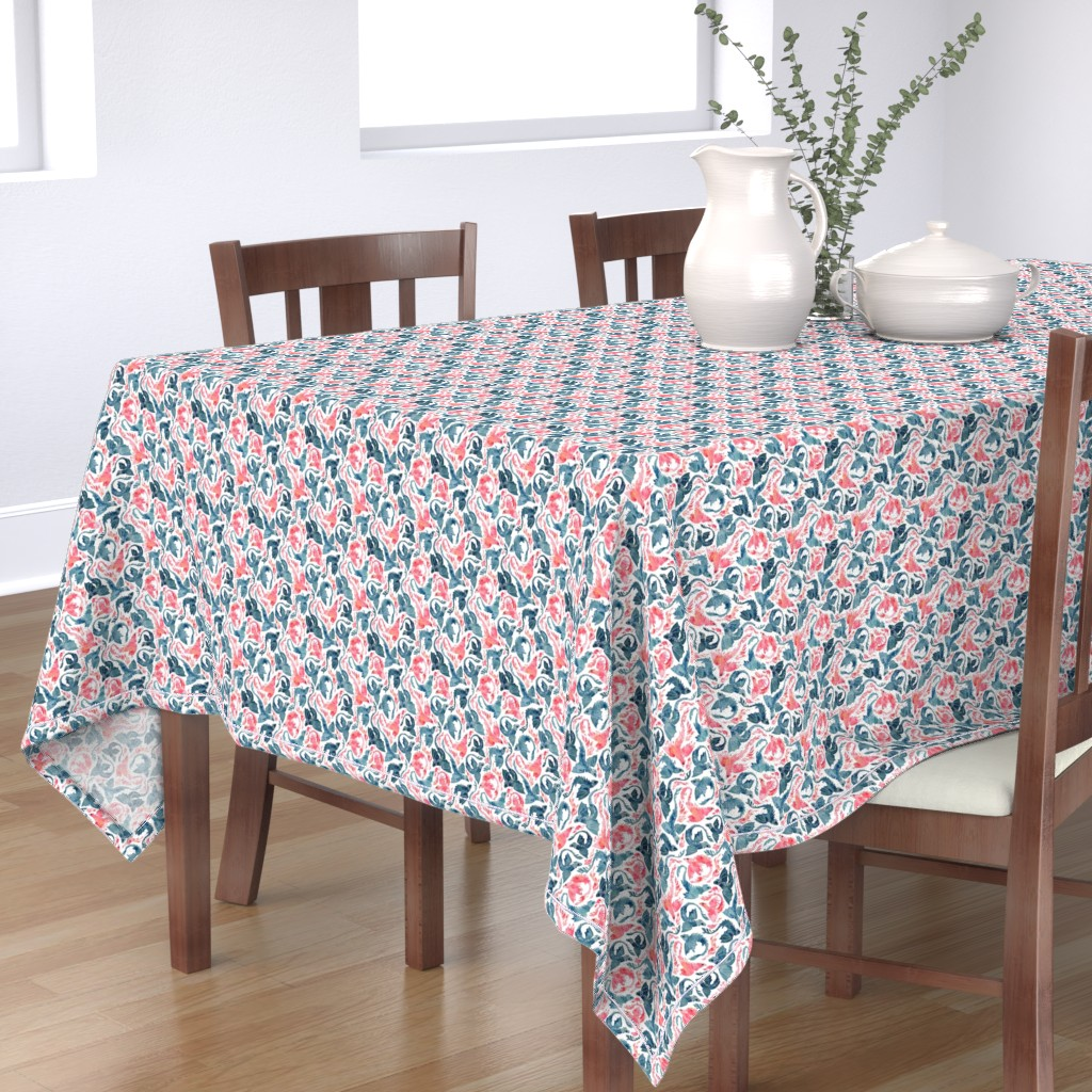 Bantam Rectangular Tablecloth featuring Dragon and red phoenix fire super small by adenaj