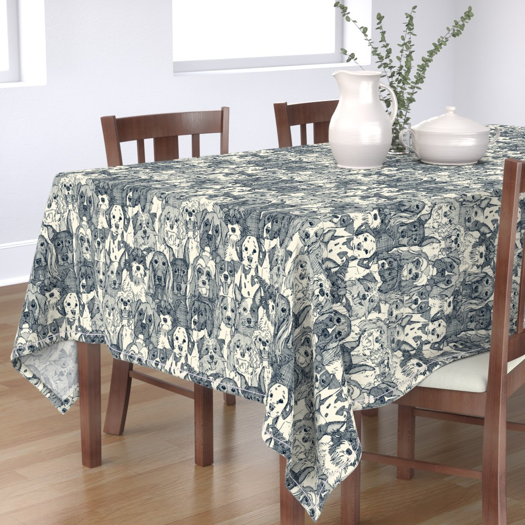 Bantam Rectangular Tablecloth featuring dogs aplenty indigo pearl by scrummy
