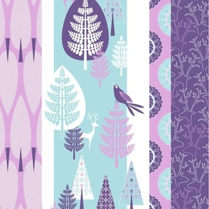 Enchanted Forest - mauve & turquoise