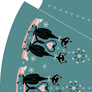 3 Yard DIY Vintage Kitty Love Circle Skirt - **Please Read Additional Details Before Purchase