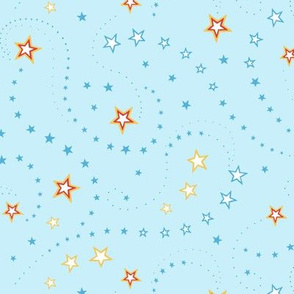 Swirling Stars, Space Light Blue - small scale